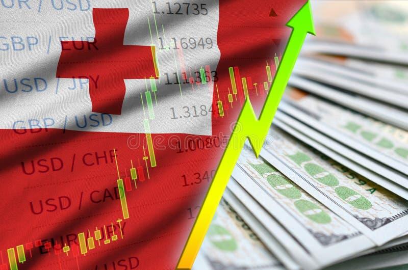 Положение доллара США флага и диаграммы Тонги растя с вентилятором долларовых банкнот бесплатная иллюстрация