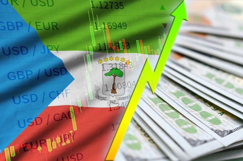 Положение доллара США флага и диаграммы Экваториальной Гвинеи растя с вентилятором долларовых банкнот иллюстрация вектора