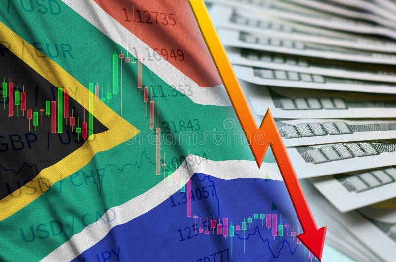 Положение доллара США флага и диаграммы Южной Африки понижаясь с вентилятором долларовых банкнот иллюстрация штока