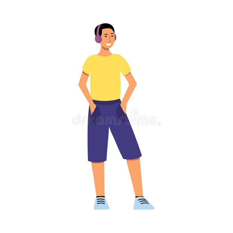 Положение и усмехаться человека персонажа из мультфильма, молодой подросток в наушниках и красочные случайные одежды иллюстрация штока