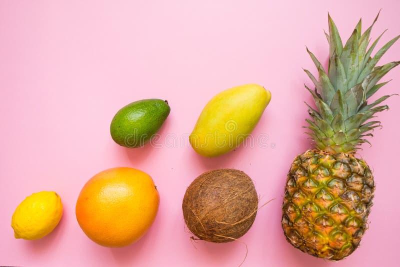 Положение квартиры с тропическим плодом установило на розовую предпосылку Свежие продукты лета: кокос, ананас, манго, грейпфрут,  стоковое изображение