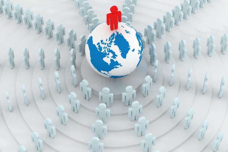 положение людей группы глобуса круглое иллюстрация вектора