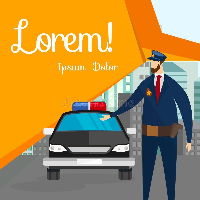 Положение полицейския перед автомобилем на улице города иллюстрация вектора