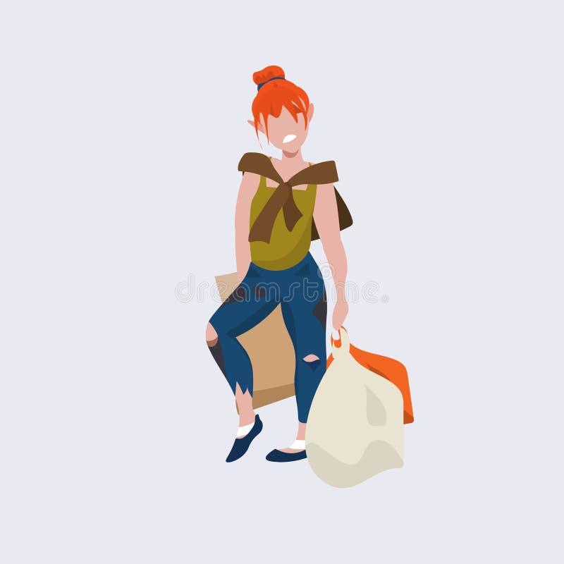 Положение попрошайки женщины Redhead плохое с девушкой бомжа бродяги сумок умоляя бездомной безработной концепции плоско во всю д иллюстрация штока