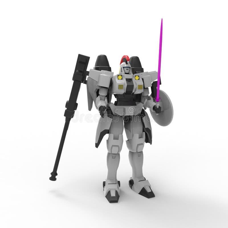 Положение солдата научной фантастики mech на белой предпосылке r Контролируемое Mech иллюстрация штока