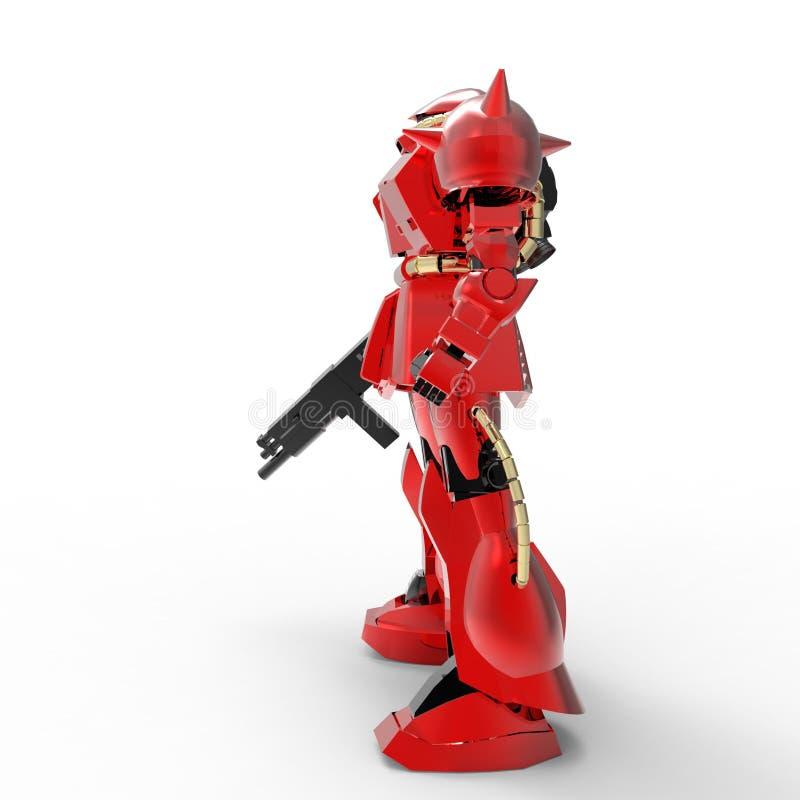 Положение солдата научной фантастики mech на белой предпосылке r Контролируемое Mech бесплатная иллюстрация