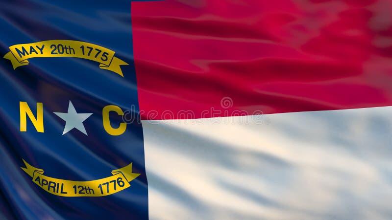 положение флага Каролины северное Развевая флаг государства Северной Каролины, Соединенных Штатов Америки иллюстрация 3d иллюстрация штока