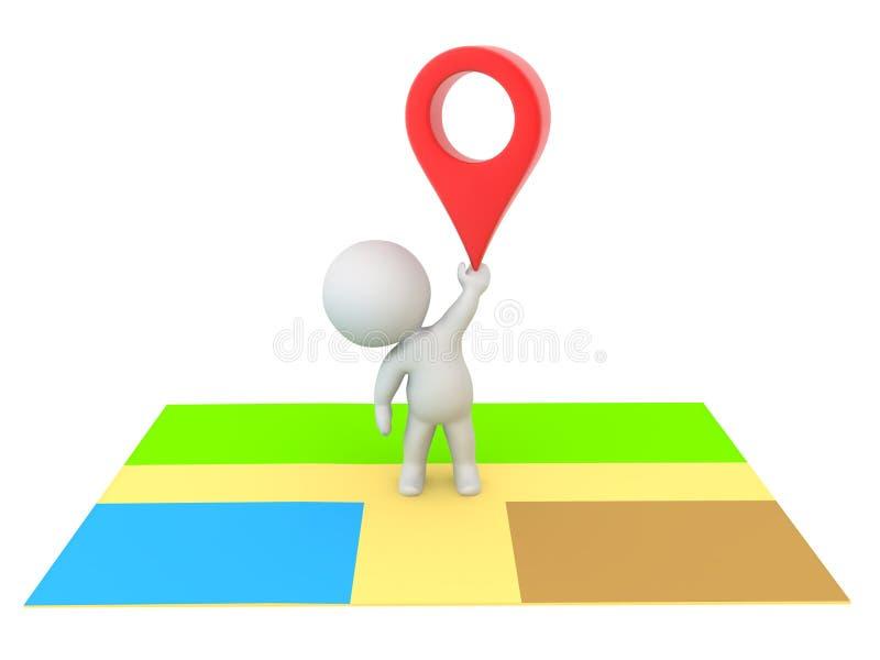 положение характера 3D на карте и задерживать красный штырь положения бесплатная иллюстрация
