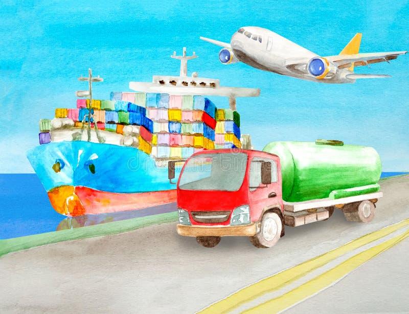Положение цистерны тележки танка акварели на береге на дороге около голубого корабля грузового контейнера на воде готовой для тог иллюстрация вектора