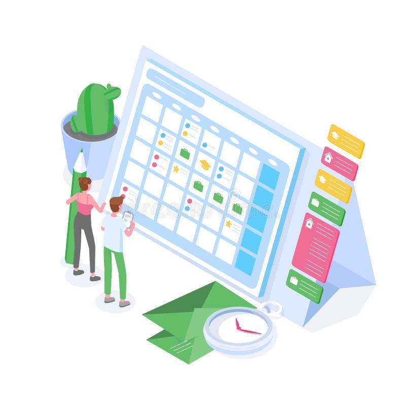 Положение человека и женщины перед гигантскими расписанием или расписанием Планирование, руководство заданием, организация времен бесплатная иллюстрация