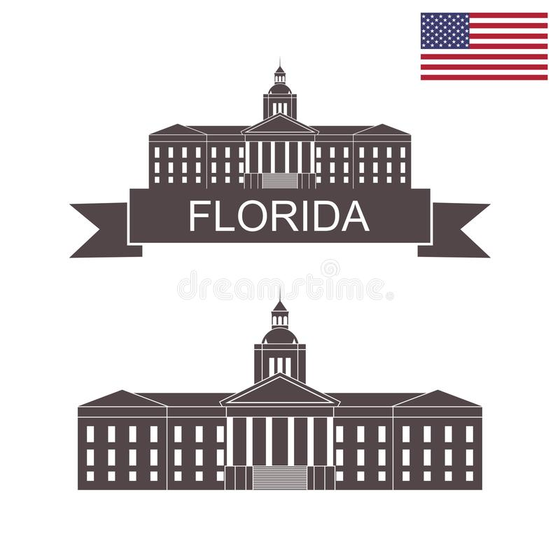 положение florida Здание капитолия положения Флориды иллюстрация вектора