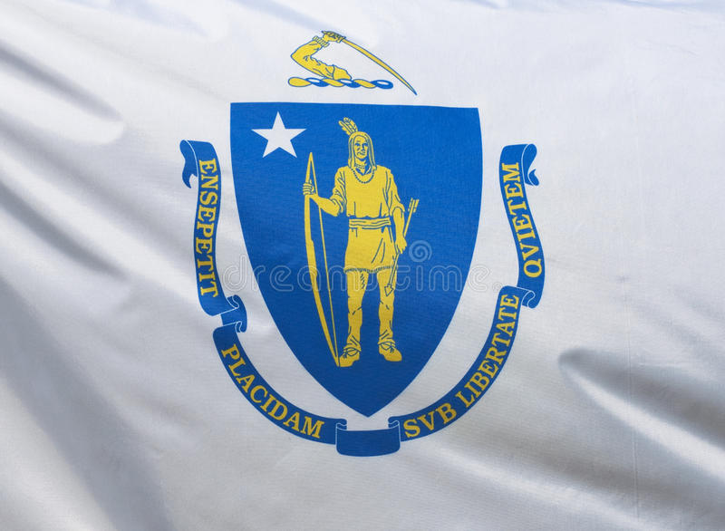 положение massachusetts флага стоковое изображение rf