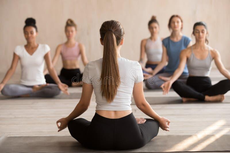 Положения йоги практики инструктора йоги вместе со студентами стоковая фотография rf
