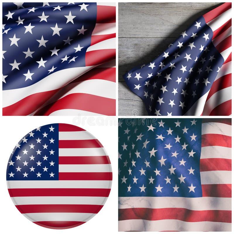 положения флагов америки соединили иллюстрация вектора