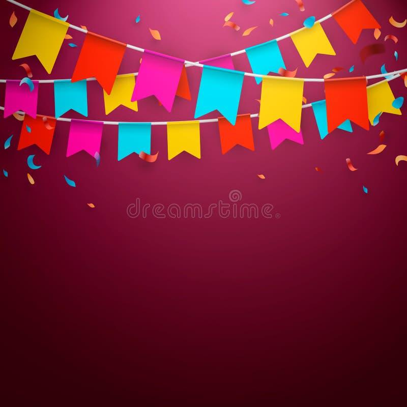 Положительное знамя дня рождения праздника также вектор иллюстрации притяжки corel бесплатная иллюстрация