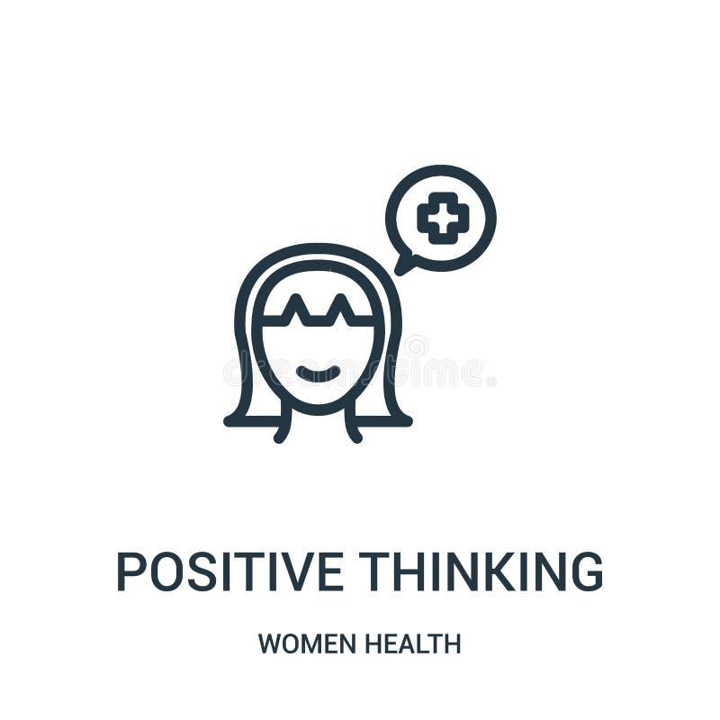 положительный думая вектор значка от собрания здоровья женщин Тонкая линия иллюстрация вектора значка плана позитва думая иллюстрация штока