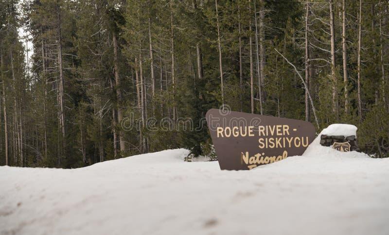Положительный знак национального леса Siskiyou реки древесин зимы жульнический стоковые изображения rf