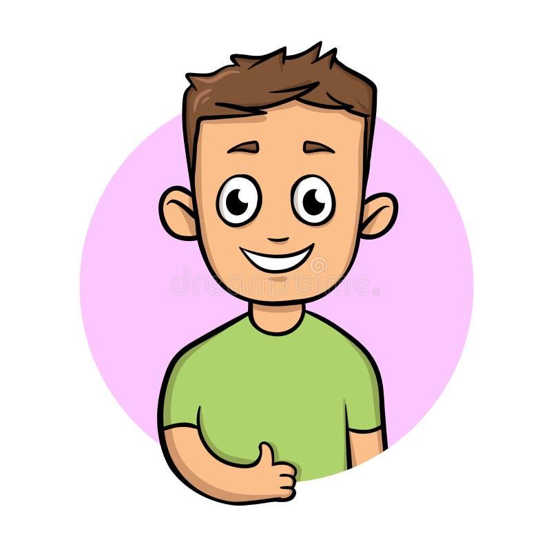 Положительный смешной парень показывая большой палец руки вверх активный уклад жизни Значок дизайна шаржа Плоская иллюстрация век иллюстрация штока