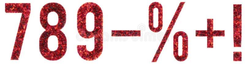 7 8 9 положительных величин минус восклицательный знак 7 процентов, 8, 9 пузырей, стекло 3D представила числа иллюстрация штока