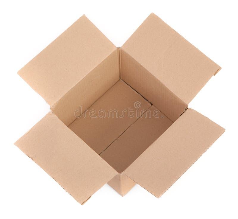 положите белизну в коробку взгляда сверху картона стоковое изображение