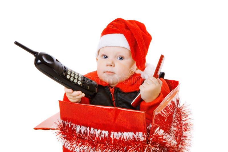 Download положите вызывать в коробку телефон младенца рождества Стоковое Изображение - изображение насчитывающей звонок, claus: 6860583
