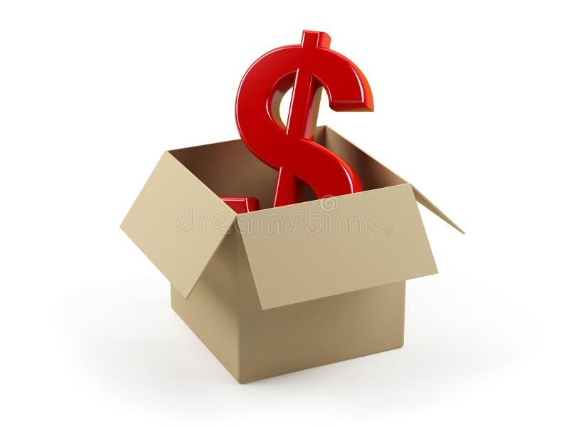 положите знак в коробку доллара картона бесплатная иллюстрация