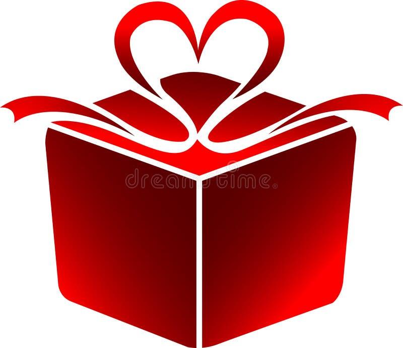 положите логос в коробку подарка иллюстрация штока