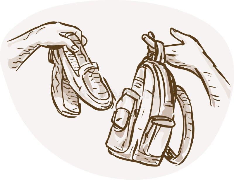 положите обменивать в мешки ботинок руки barter иллюстрация вектора