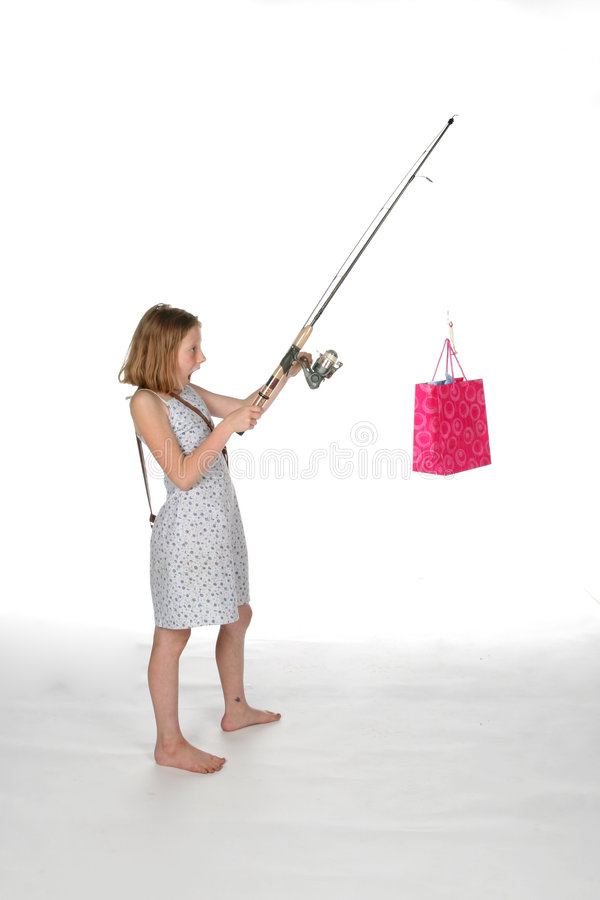 положите полюс в мешки пинка девушки подарка рыболовства стоковые изображения