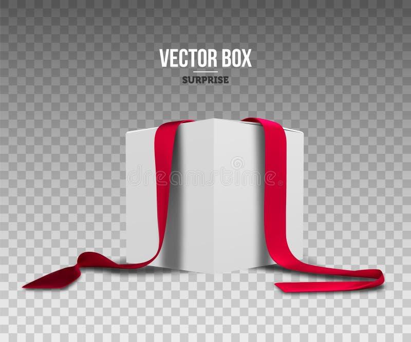 положите тесемки в коробку красного цвета подарка Праздничный упаковывать Реалистическая иллюстрация вектора иллюстрация вектора