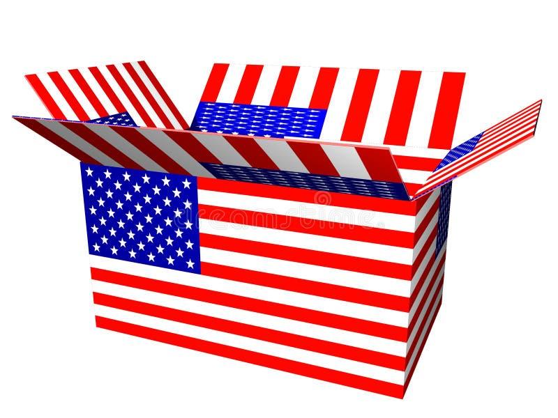положите флаг в коробку США иллюстрация вектора