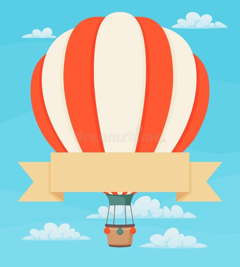 Полосатый красно-белый воздушный шар с лентой и облаками Винтажный постер, шаблон дизайна поздравительных открыток иллюстрация вектора