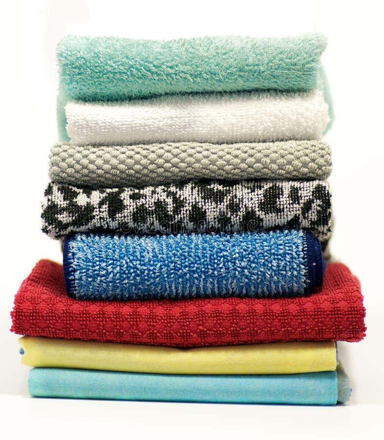 полотенца terry ткани цветастые стоковые фотографии rf