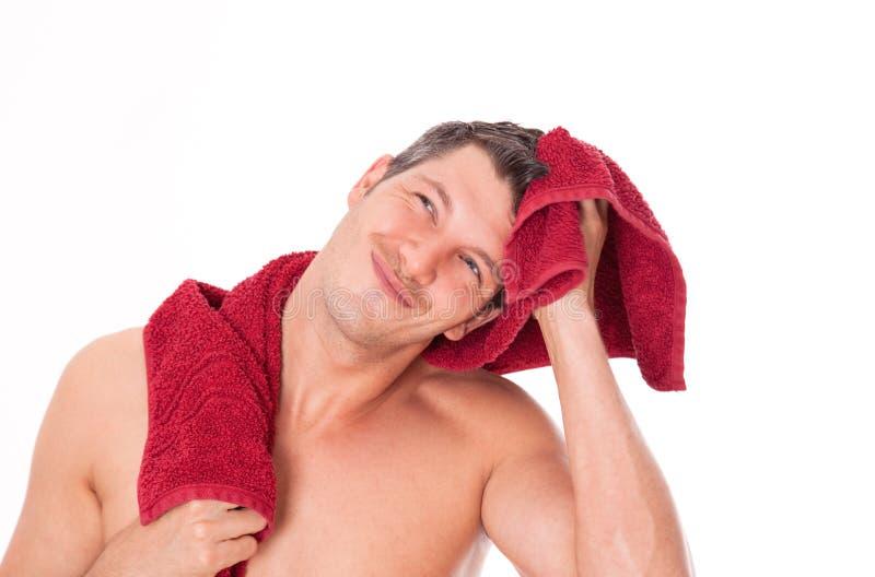 полотенце человека волос стоковые фотографии rf