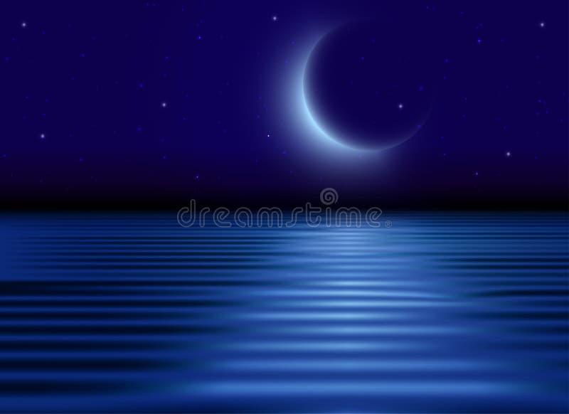 Полуночное небо со звездами и молодым месяцем, светлым отражением в обоях воды бесплатная иллюстрация