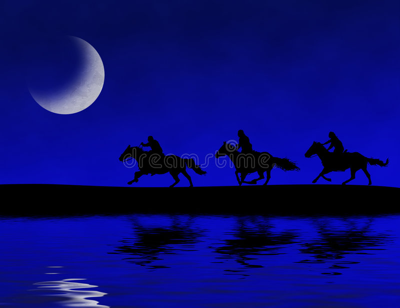 полуночные всадники иллюстрация вектора