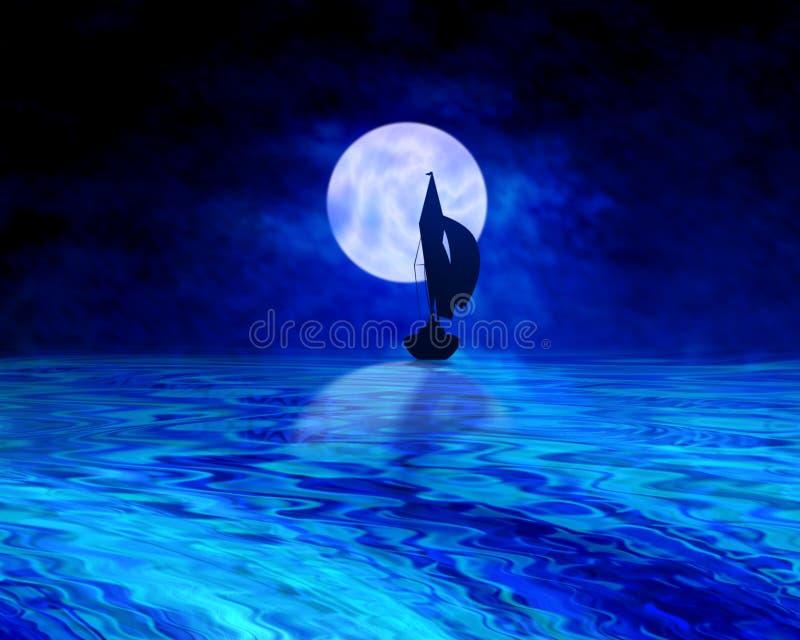 полуночный sailing иллюстрация штока