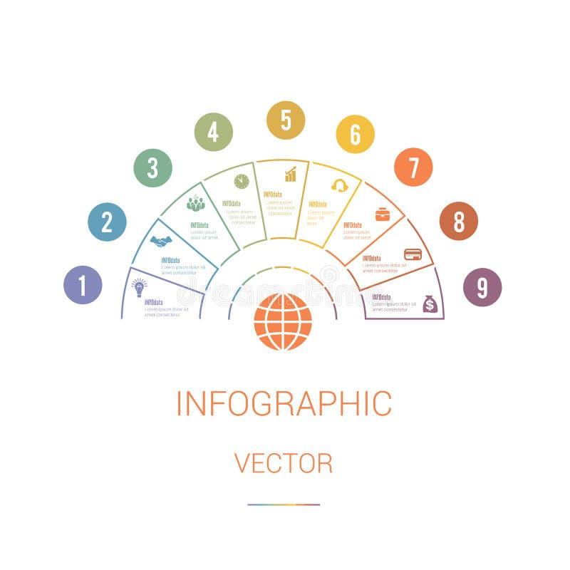 Полуокружность долевой диограммы шаблона Infographic красочная с текстом a иллюстрация вектора