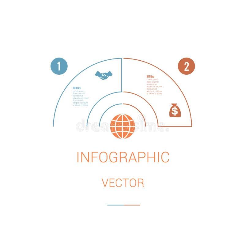 Полуокружность долевой диограммы шаблона Infographic красочная с текстом ar иллюстрация штока
