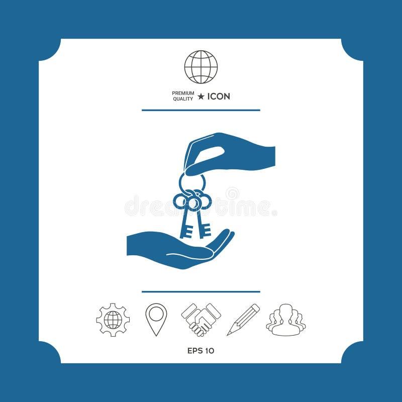 Получающ пук ключей - значок иллюстрация штока