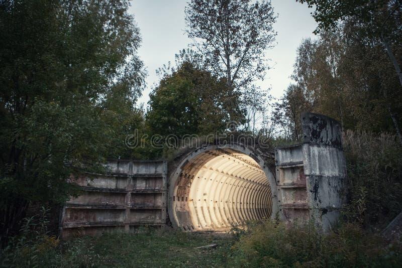 Получившийся отказ бункер баллистической ракеты в лесе стоковое фото