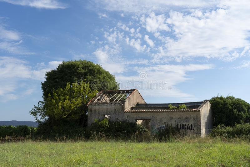 Получившийся отказ дом в середине виноградника стоковое изображение