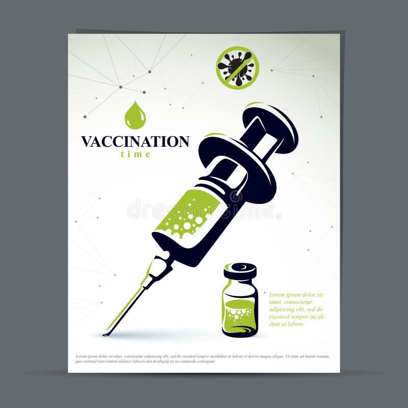 Получите ваш плакат представления маркетинга прививки от гриппа по мере того как вектор свирли предпосылки декоративный графическ иллюстрация штока
