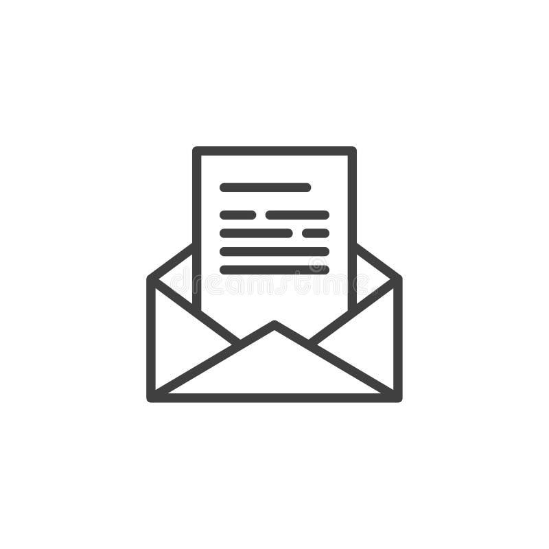 Получите линию сообщения значок электронной почты иллюстрация штока