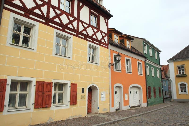 Полу-timbered дом в Амберге стоковое фото rf