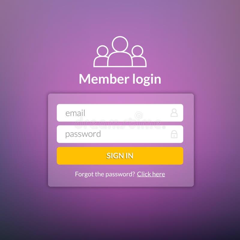 Пользовательский интерфейс имени пользователя Подпишите внутри окно шаблона элемента сети Ui вебсайта дела современное иллюстрация вектора