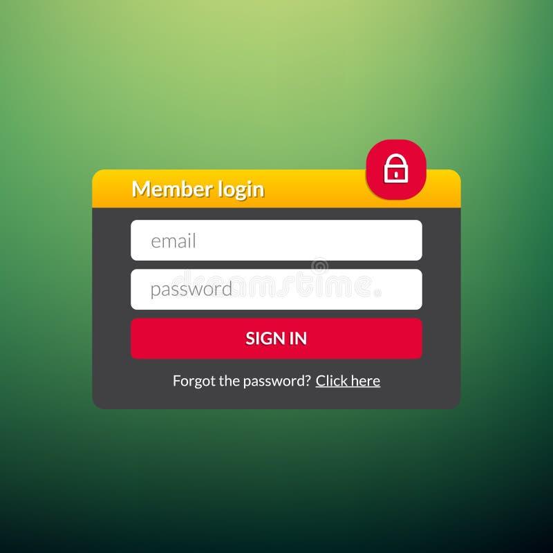Пользовательский интерфейс имени пользователя Подпишите внутри окно шаблона элемента сети Ui вебсайта дела современное иллюстрация штока