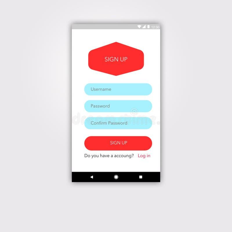 Пользовательский интерфейс регистрации андроида с материальным дизайном бесплатная иллюстрация