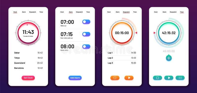 Пользовательский интерфейс часов Мобильный телефон ui таймера секундомера сигнала тревоги Дизайн вектора приложения времени бесплатная иллюстрация