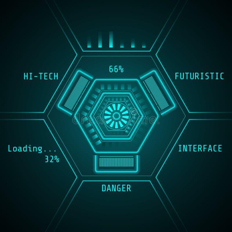 Пользовательский интерфейс Sci fi футуристический предпосылка высокотехнологичная Иллюстрация вектора абстрактной технологии иллюстрация вектора